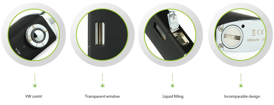 Joyetech eGrip 20W VW Kit Black 1500mAh  CE VW contrl Transparent window Liquid filling Incomparable design