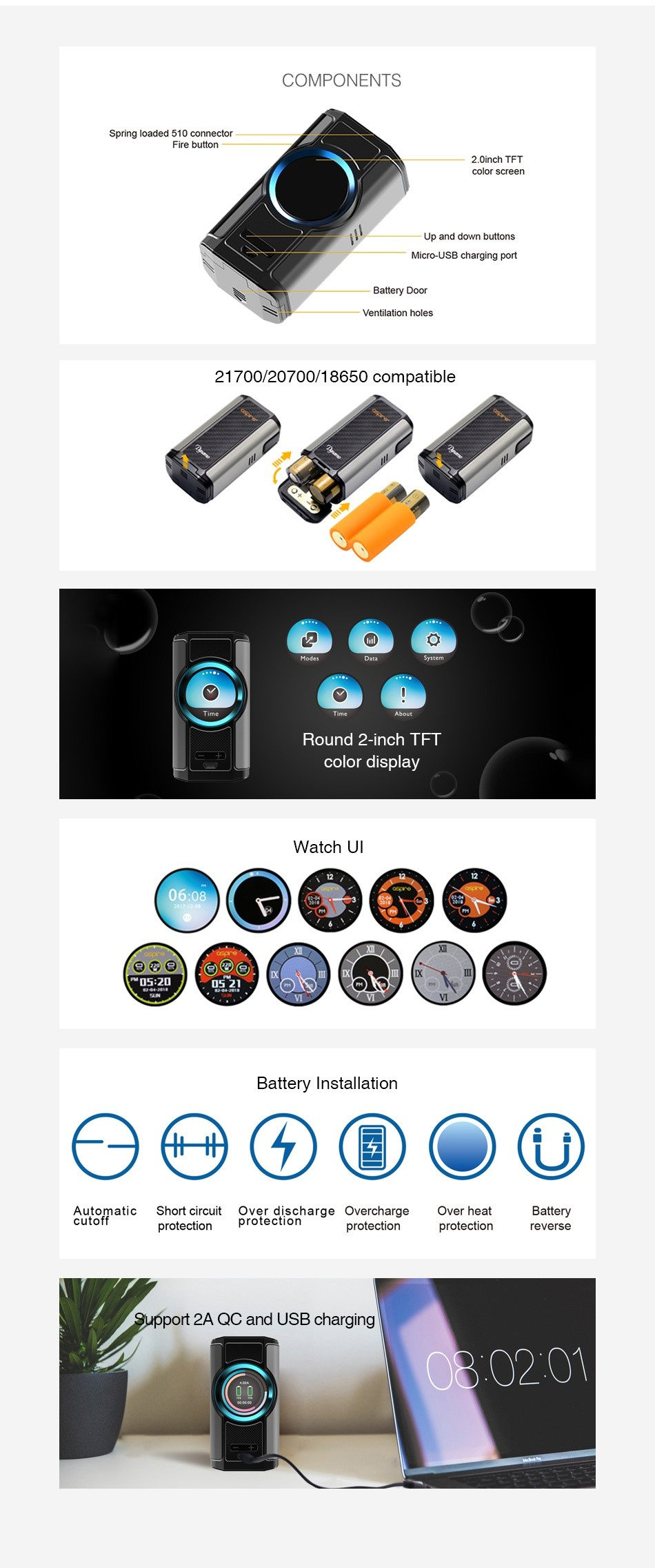 Aspire Dynamo 220W TC Box MOD COMPONENTS pring loaded 510 connector Up and down buttons 21700 20700 18650 compatible 2 o Round 2 inch TFT Watch Ul 06 08 Battery Installation      matic Short circuit Over discharge Overcharge Over heat Batter protection protection reverse support 2A QC and USB charging 030201