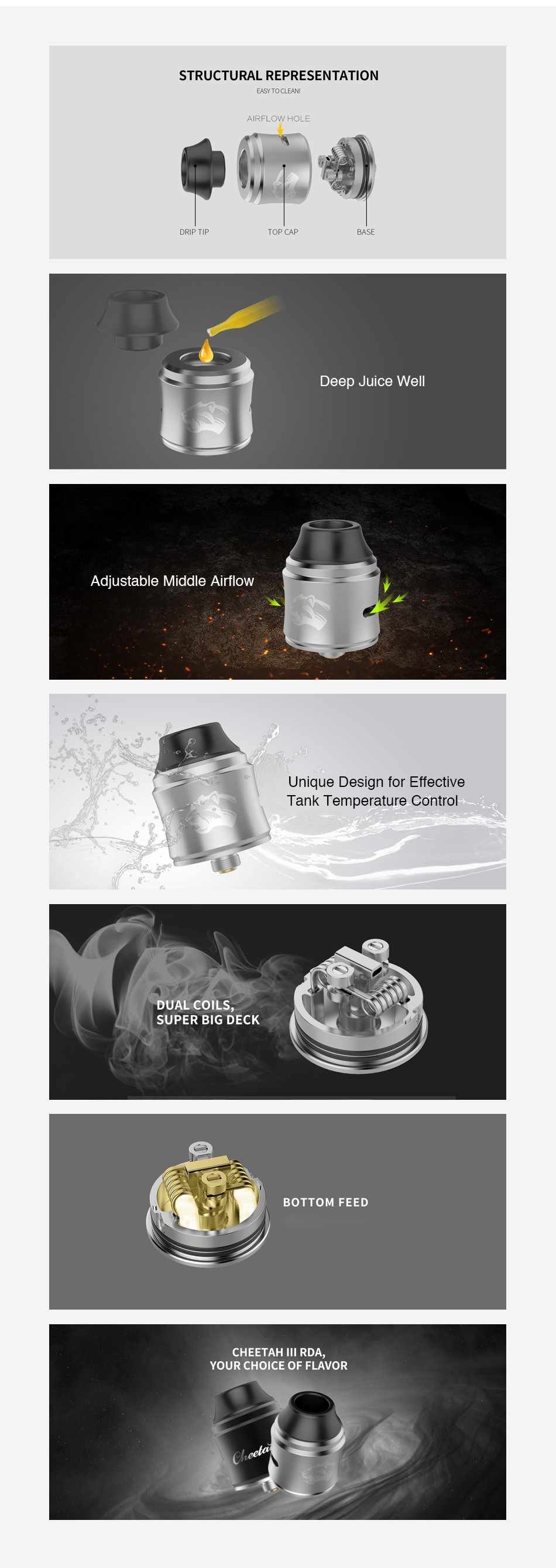 OBS Cheetah 3 RDA STRUCTURAL REPRESENTATION EASY TO CLE AIR LOW HOLE    DRIPT PASF Deep Juice Wel Adjustable Middle Airflow Unique Design for Effective Tank Temperature Control DUAL COILS SUPER BIG DECK BOTTOM FEED CHEETAH III RDA YOUR CHOICE OF FLAVOR