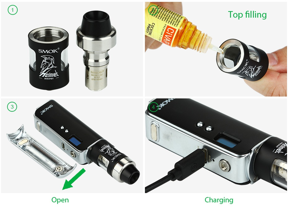 SMOK OSUB 40W TC Starter Kit 1350mAh Top filling elmet Open Charging