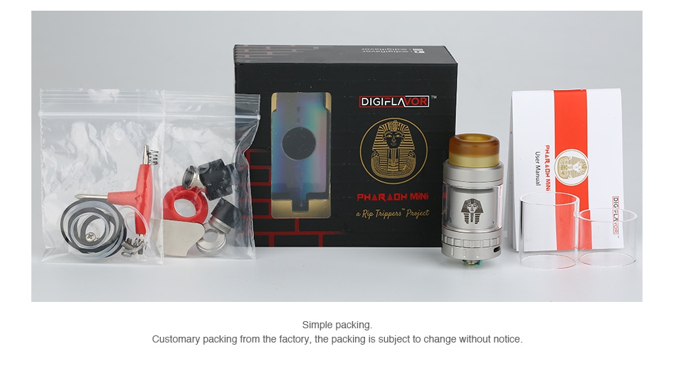 Digiflavor Pharaoh Mini RTA 2ml D G rL o PH  RADH MIN Simple packing ustomary packing fro factory  the packing is subject to change without notice