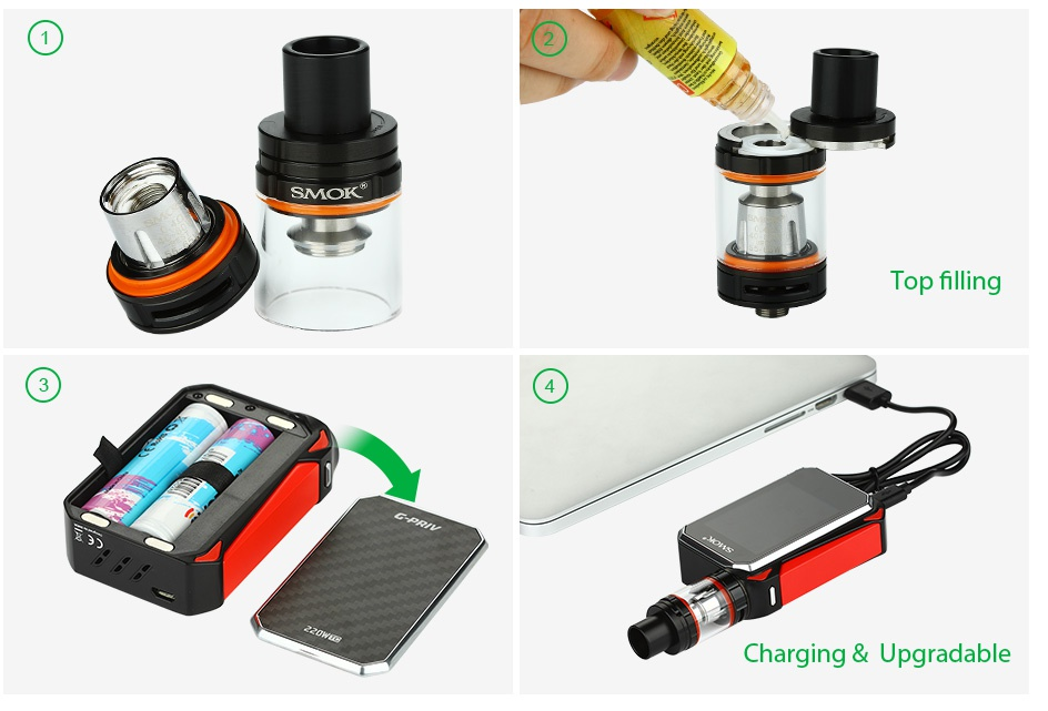 SMOK G-PRIV 220 With TFV8 Big Baby Starter Kit Top filling Charging Upgradable