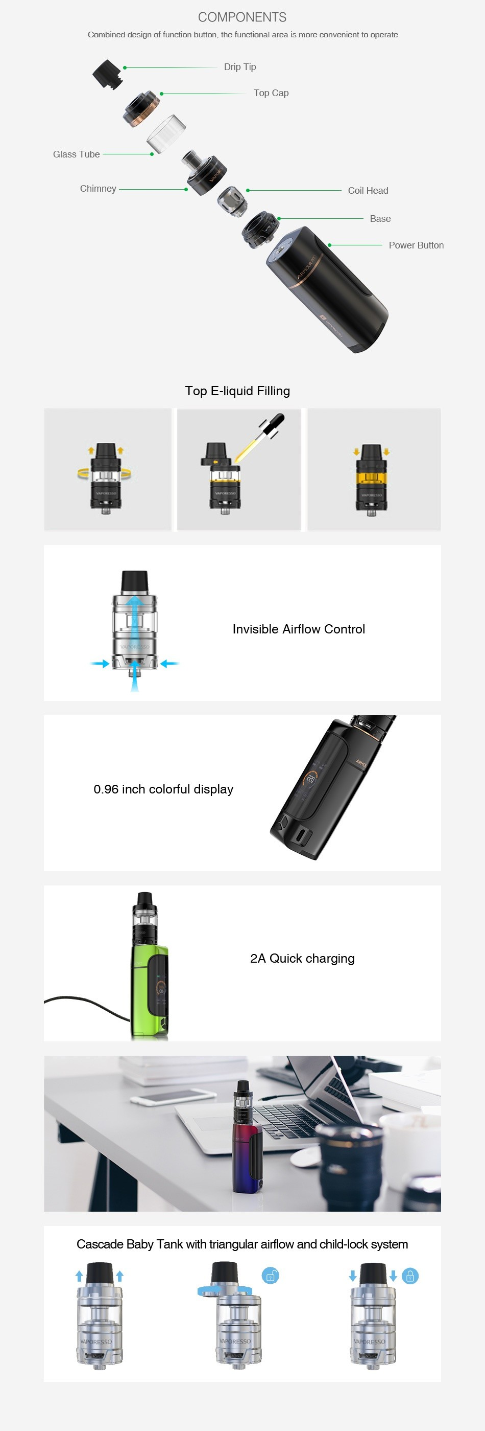 Vaporesso Armour Pro 100W TC Kit with Cascade Baby COMPONENTS Combined design af function button the functional area is more Drip Tip Class Tube op E liquid Filling nvisible airflow contro 0 96 inch colorful display 2A Cascade Baby Tank with triangular airflow and child lock system