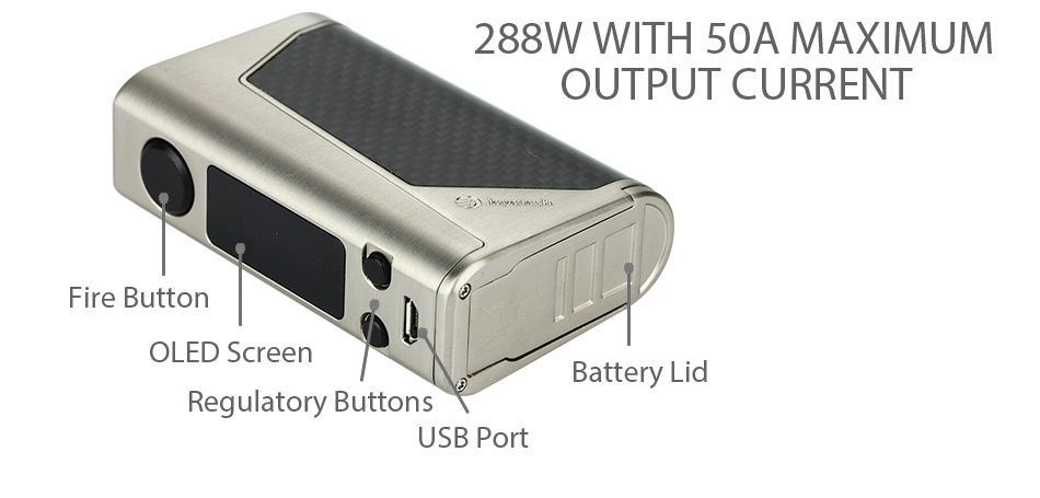 Joyetech eVic Primo 2.0 228W with UNIMAX 2 Full Kit 288W WITH SOA MAXIMUM OUTPUT CURRENT Fire button OLED Screen Battery Lid Requlatory buttons USB Port