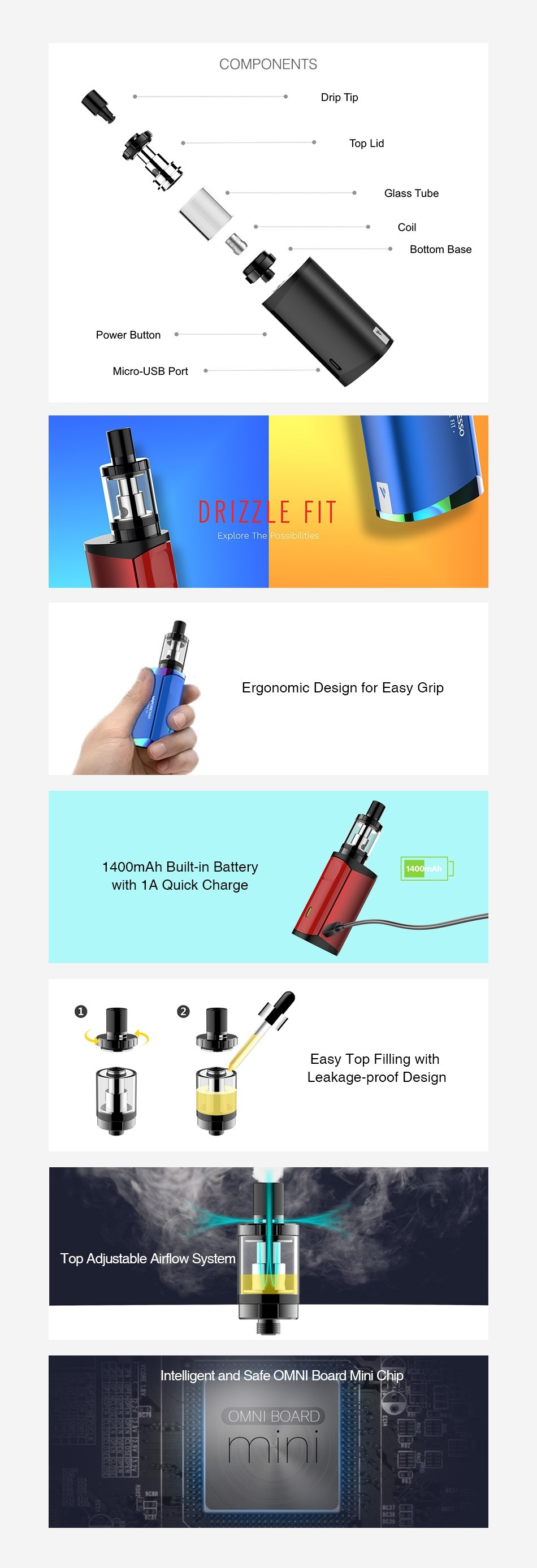 Vaporesso Drizzle Fit Kit Black and Green - Mighty Vape