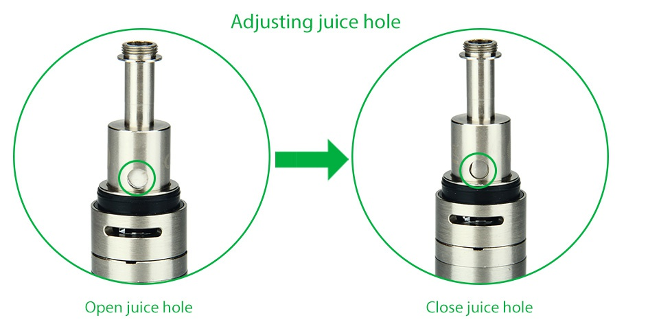 Kangertech SUBVOD-C Starter Kit 1300mAh Adjusting juice hole Open juice hole Close juice hole