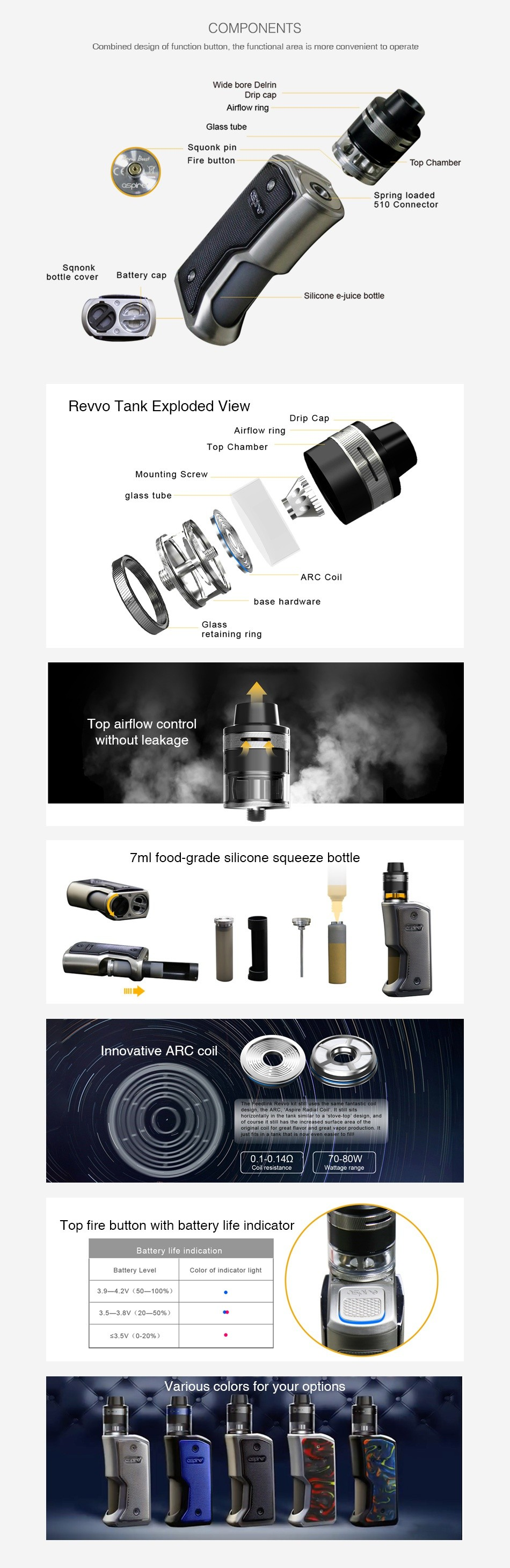 Aspire Feedlink Revvo Squonk Kit COMPONENTS Combined des gn of function button  the functional area is more conven ent to operat bottle cover Battery ca Revo Tank Exploded i base hard taining ring T ithaut leak 7ml food grade silicone squeeze bottle 0 1 0 14Q Top fire button with battery life indicator ColOr of ar dicate  I g 3 9 4 2Y 50 105  3 5 3Bv 20 50   3 5v0 20  Various colors for your options