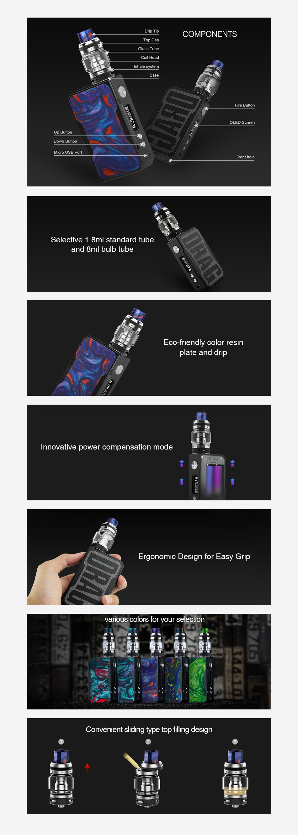 VOOPOO Black Drag 157W TC Kit with UFORCE T1 Inhale system LED Screen Up Button Micro UsB Port Vent hole elective 1  8ml standard tube and 8ml bulb tube Eco friendly color resin plate and drip Innovative power compensation mode Ergonomic Design for Easy Grip arious colors for your selection  Convenient sliding type top filling design