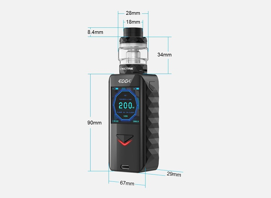 Digiflavor Edge 200W TC Kit with Spectre 28mm 18 8 4m 34mm 200