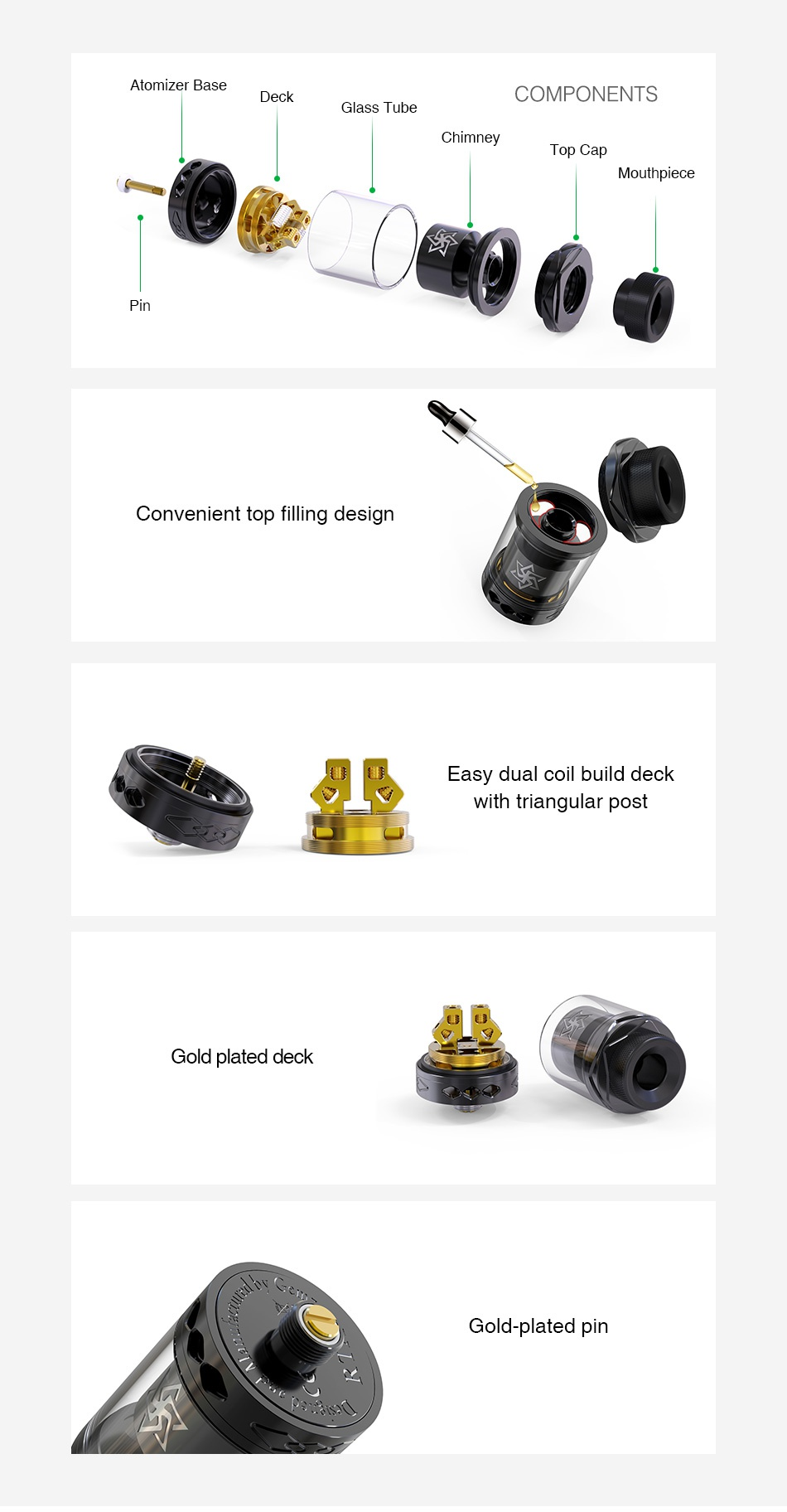 Gemz Lucky Star 2 RTA 2ml/4ml Atomizer base Deck COMPONENTS Glass tube Chimney Top Cap Mouthy Convenient top filling design Easy dual coil build deck With triangular post Gold plated deck Gold plated pin