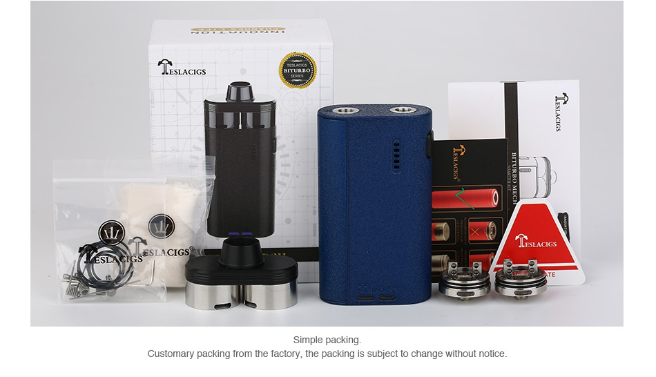 Tesla Biturbo Mech Dual RDA Kit   ESLA CIGS Simple packing Customary packing from the factory  the packing is subject to change without notice