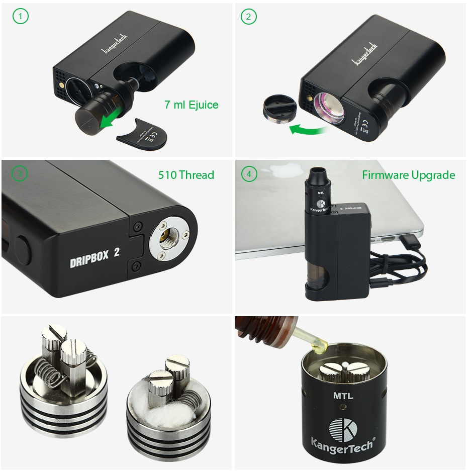 Kangertech Dripbox 2 TC Starter Kit 7 ml Ej 510 Thread Firmware Upgrade DRIPBOX 2 MTL angerTech