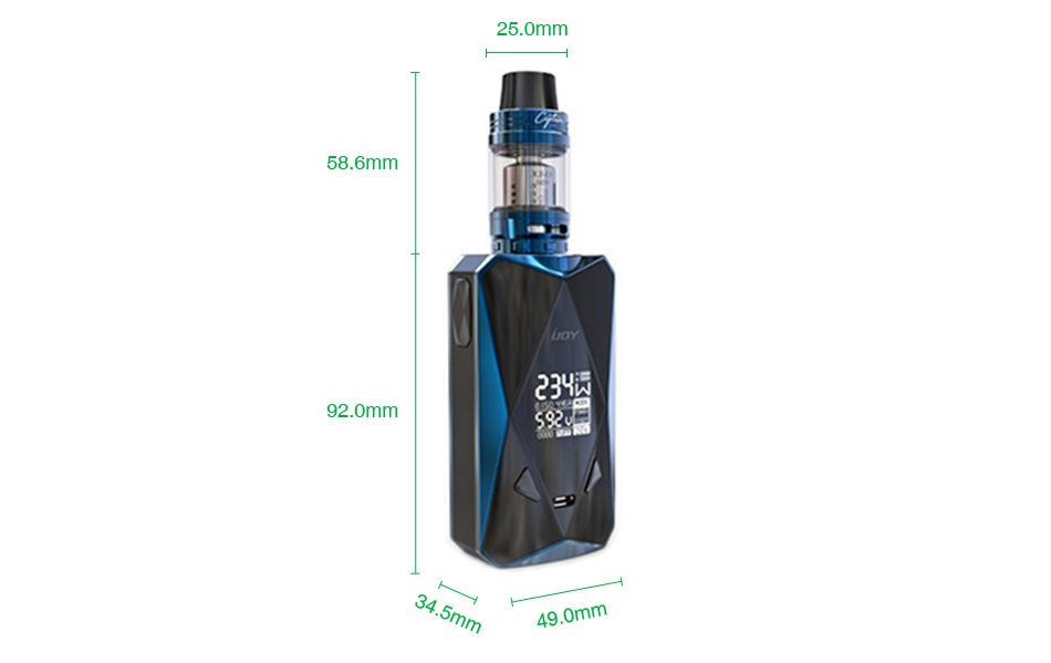 IJOY Diamond PD270 234W TC Kit with Captain X3S 6000mAh 25 0mm 58 6mm 23 92 0mm 490mm