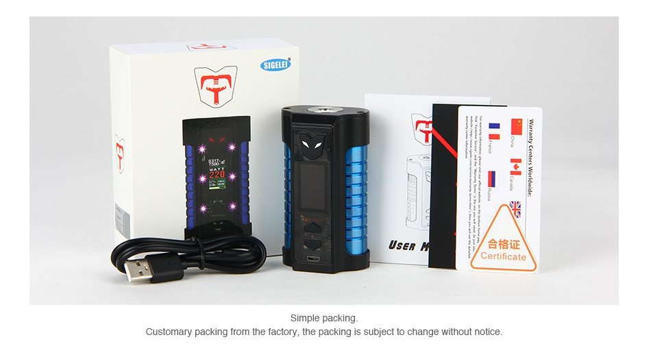 Sigelei MT 220W TC Box MOD SE      Simple packing Customary packing from the factory  the packing is subject to change without notice