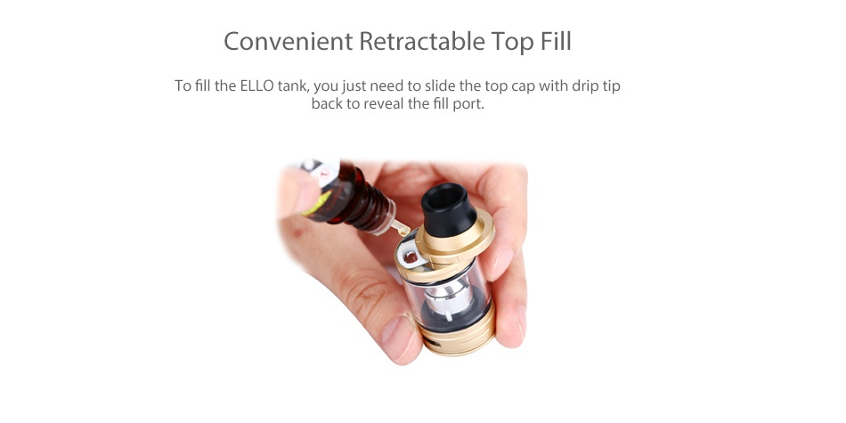 Eleaf iKonn 220 with Ello Kit Convenient Retractable Top Fill To fill the ELLo tank  you just need to slide the top cap with drip tip back to reveal the fill port