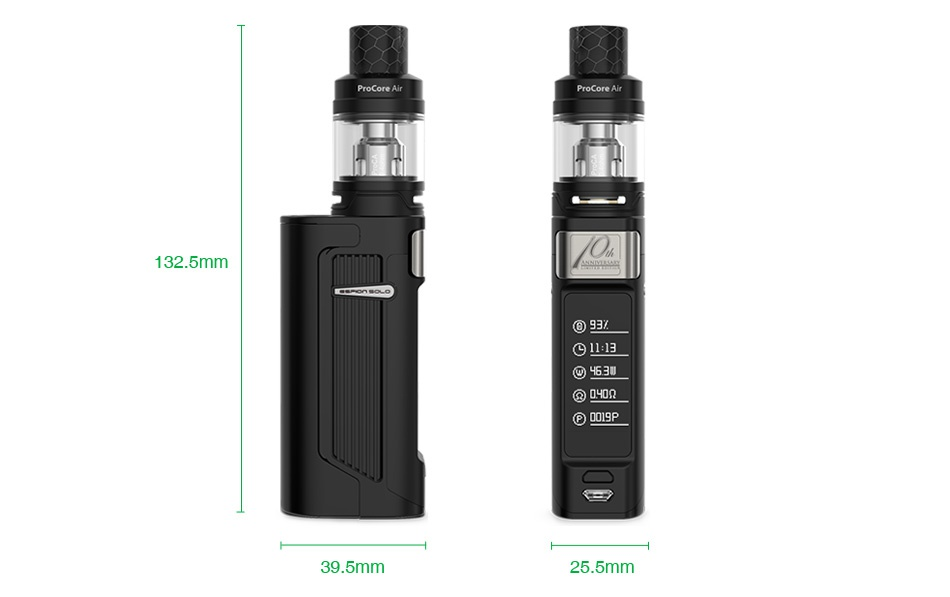 Joyetech ESPION Solo 21700 80W with ProCore Air TC Kit 132 5mm      3 c  39 5mm 25 5mm
