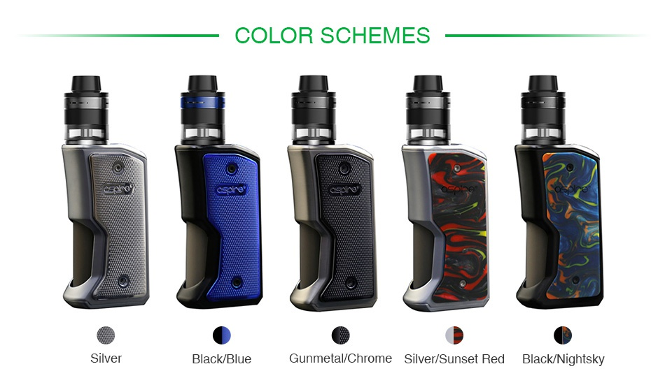 Aspire Feedlink Revvo Squonk Kit COLOR SCHEMES Silver Black blue Gunmetal Chrome Silver Sunset Red Black Nightsky