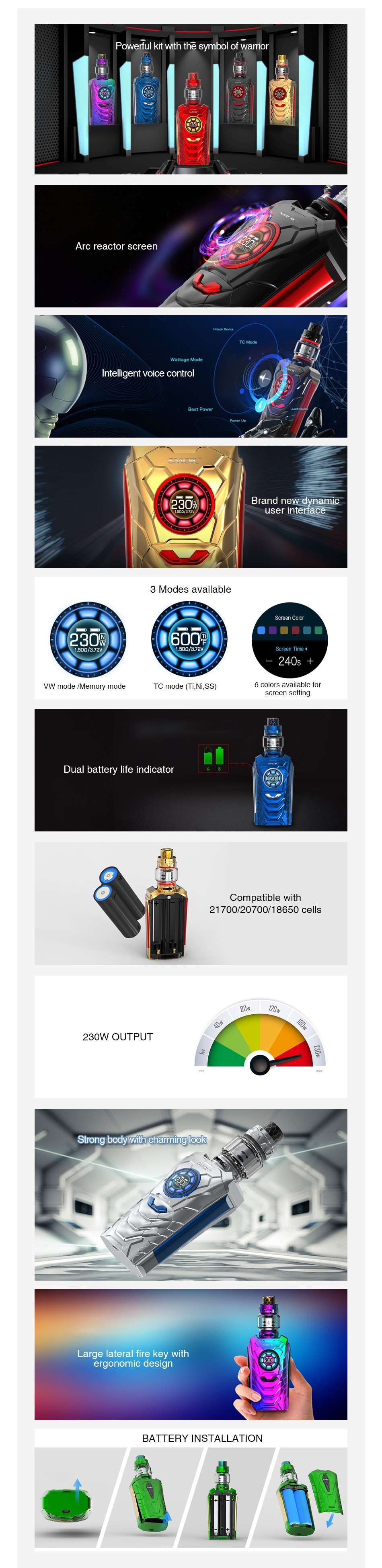SMOK I-Priv 230W Voice Control TC Kit Powerful kit wit Arc reacto Intelligent voice contro   vw roils k  ots trID   TG IIo I    NI Ss  Dual battery life indicator 217002070018650cels 230W OUTPUT ergonomic design BATTERY INSTALLATION