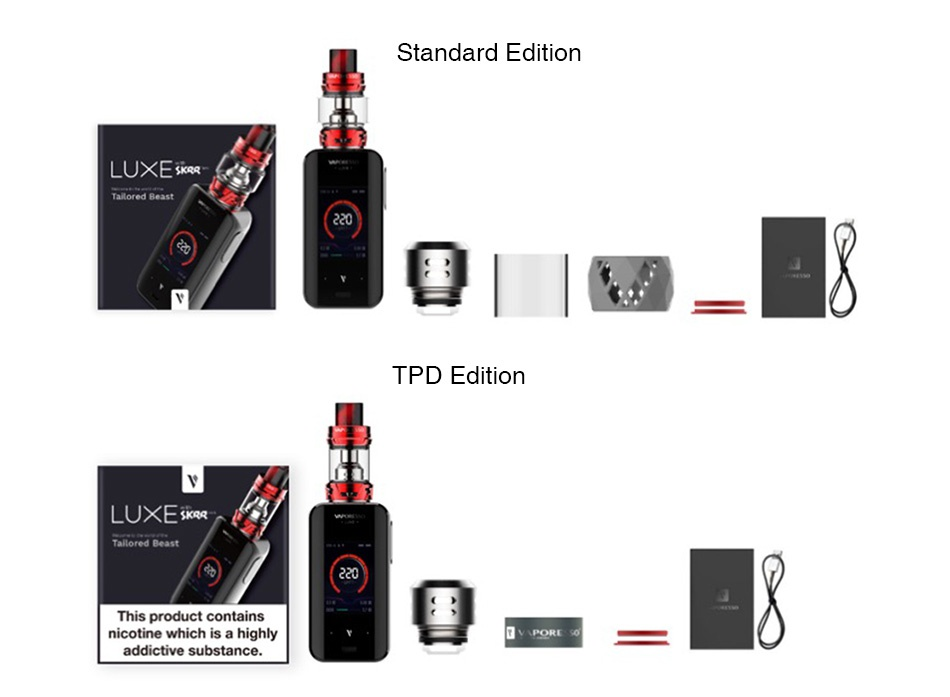 Vaporesso Luxe 220W Touch Screen TC Kit with SKRR Standard edition LUXESkRR TPD Editio LU E ored Beast This product contains nicotine which is a highly addictive substance