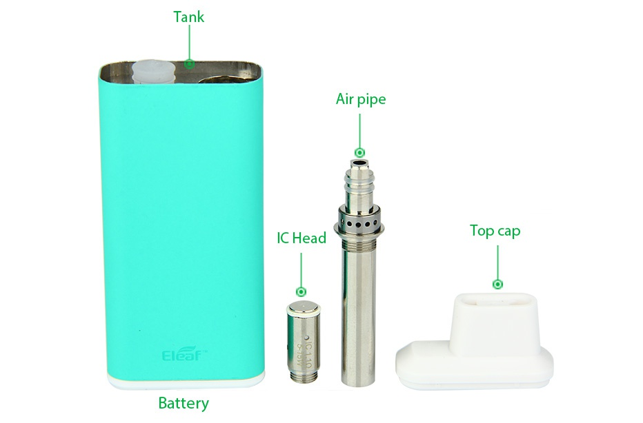 Eleaf iCare Starter Kit 650mAh Tank Air pipe IC Head Top cap alcan Battery