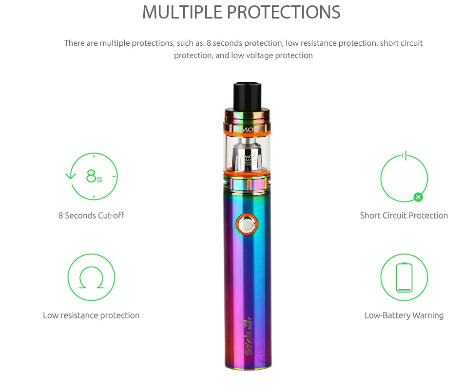 SMOK Stick V8 Baby Kit with TFV8 Baby 2000mAh     SMOK Rainbow Gold Black