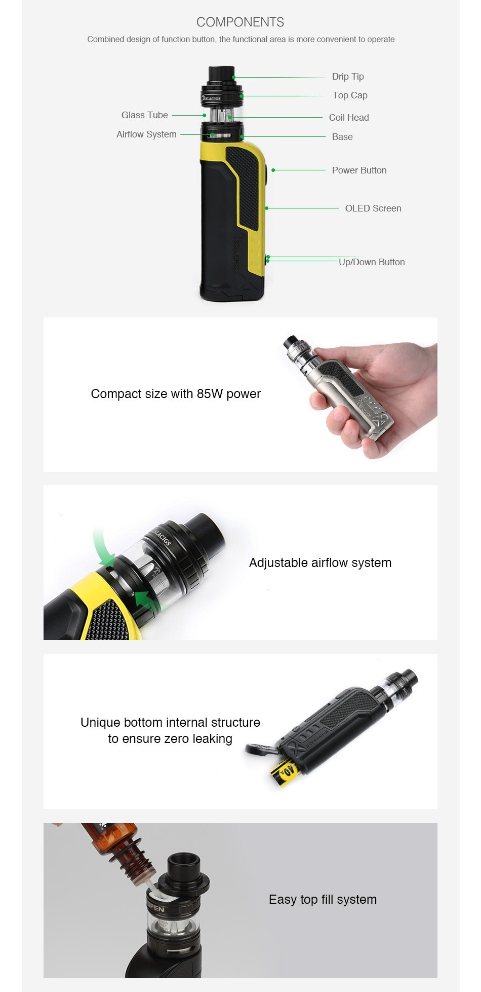 Tesla Warrior 85W TC Kit with H8 Mini Tank COMPONENTS Combined design of function button  the functional area is more convenient to operate Drip Tip Top Cap Glass Tube Coil Head Airflow System Base Power button OLED Screen Up Down Button Compact size with 85W power Adjustable airflow system Unique bottom internal structure to ensure zero leaking Easy top fill system