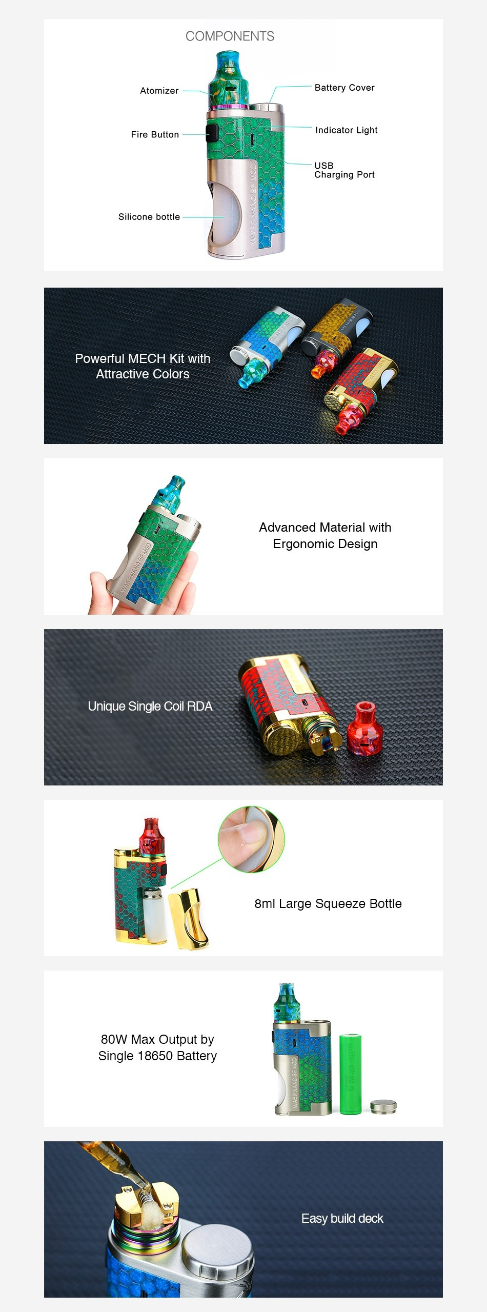 OUMIER WASP NANO MECH Squonk Kit COMPONENTS Silicone bottle Powerful MeCh Kit with Attractive cold Advanced material with Ergon Unique Single Coil RDA 8ml Large squeeze bottle 80W Max output by Single 18650 Battery asy buld deck