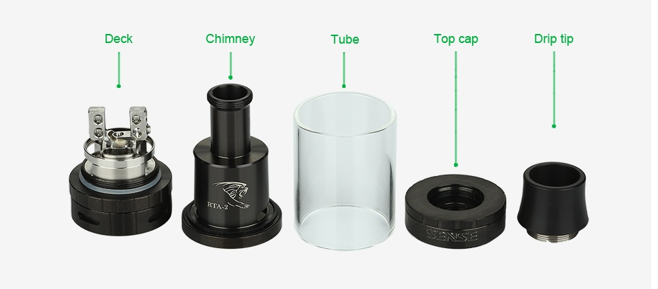 Sense Herakles RTA-2 Tank 6ml Deck Chimney Top ca Drip tip CASE