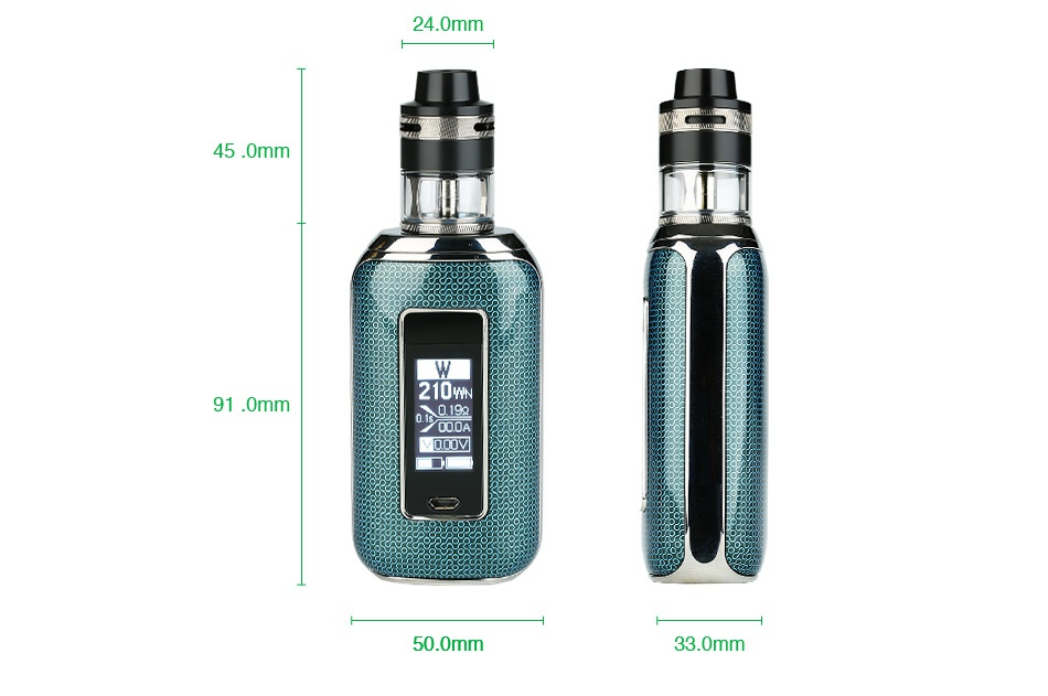 Aspire Skystar 210W Touch Screen TC Kit with Revvo 24 0mm 45 0mm 91 0mm 50 0mm 33 0mm