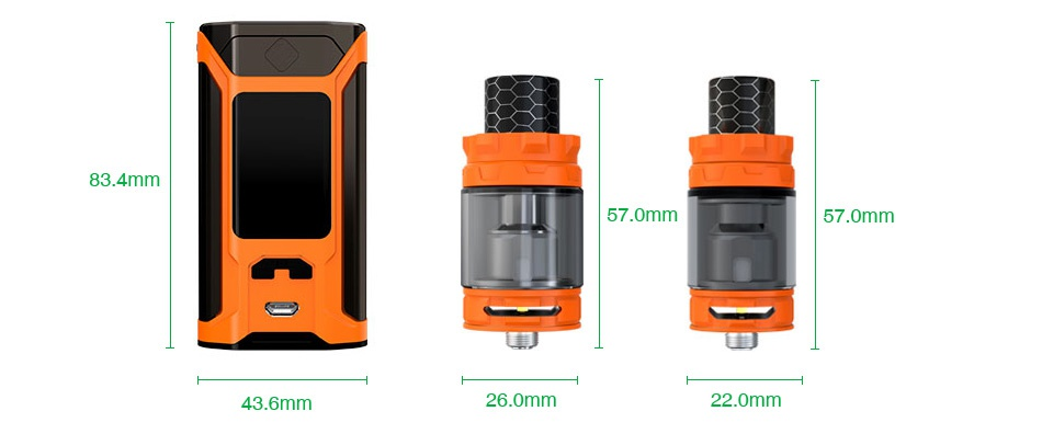 WISMEC SINUOUS RAVAGE230 230W TC Kit with GNOME King 3 4mm 57 0mm 57 0mm 43 6mm 26 0mm 220mm