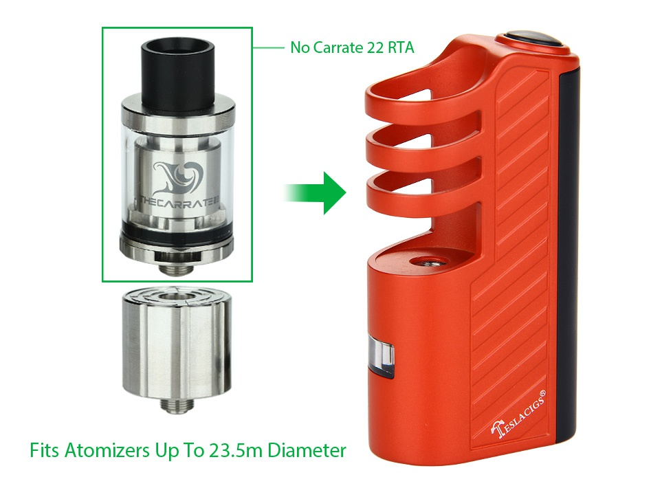 Tesla Stealth 70W With Shadow Starter Kit No Carate 22 RTA   Fits Atomizers Up To 23 5m Diameter