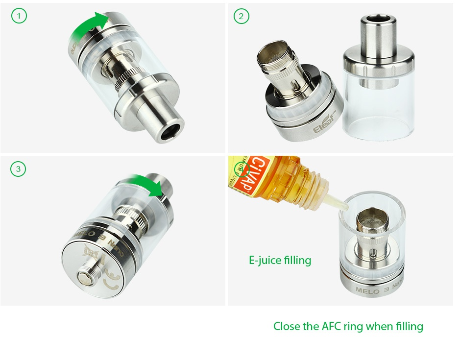 Eleaf Melo 3 Nano Atomizer 2ml E juice filling Close the AFC ring when filling