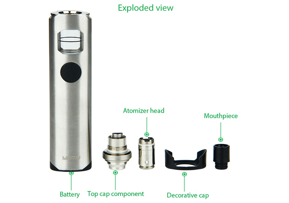 WISMEC Motiv Starter Kit 2200mAh Exploded view Atomizer head Mouthpiece   Battery Top cap component Decorative cap
