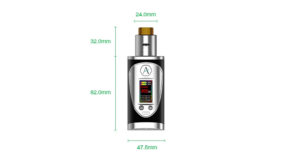 Avidvape Throne Squonker 200W TC Kit 24 0mm 32 0mm A 82 0mm 47 5mm