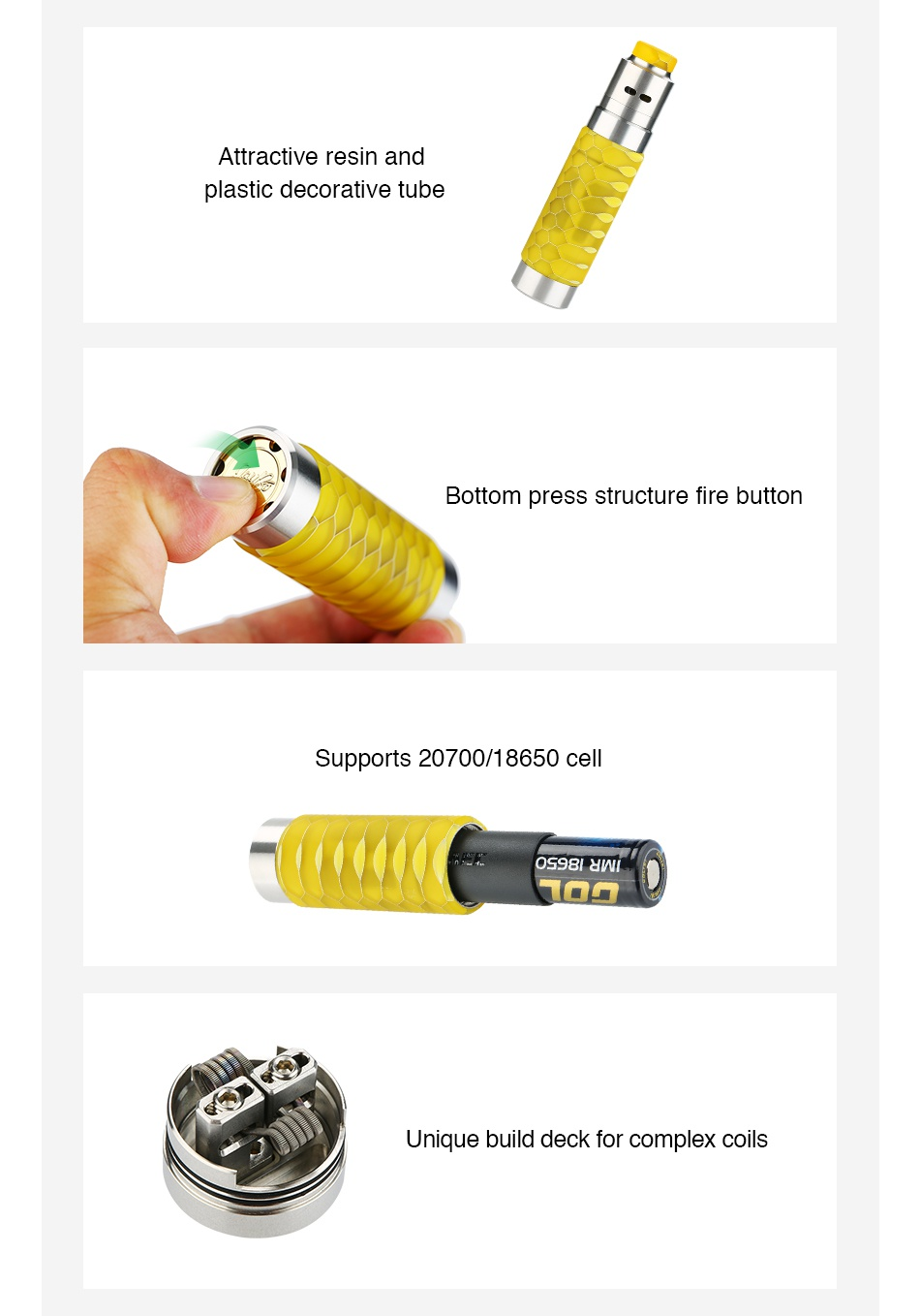 WISMEC Reuleaux RX Machina 20700 Mech MOD with Guillotine RDA Kit Attractive resin and plastic decorative tube Bottom press structure fire button Supports 20700 18650 C OS981 dWI Unique build deck for complex coils