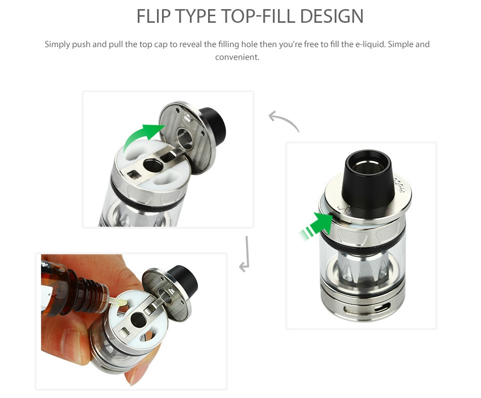 Joyetech CUBOID TAP 228W with ProCore Aries TC Kit FLIP TYPE TOP FILL DESIGN Simply push and pull the top cap to reveal the filling hole then you re free to fill the e  liquid  Simple and convenient
