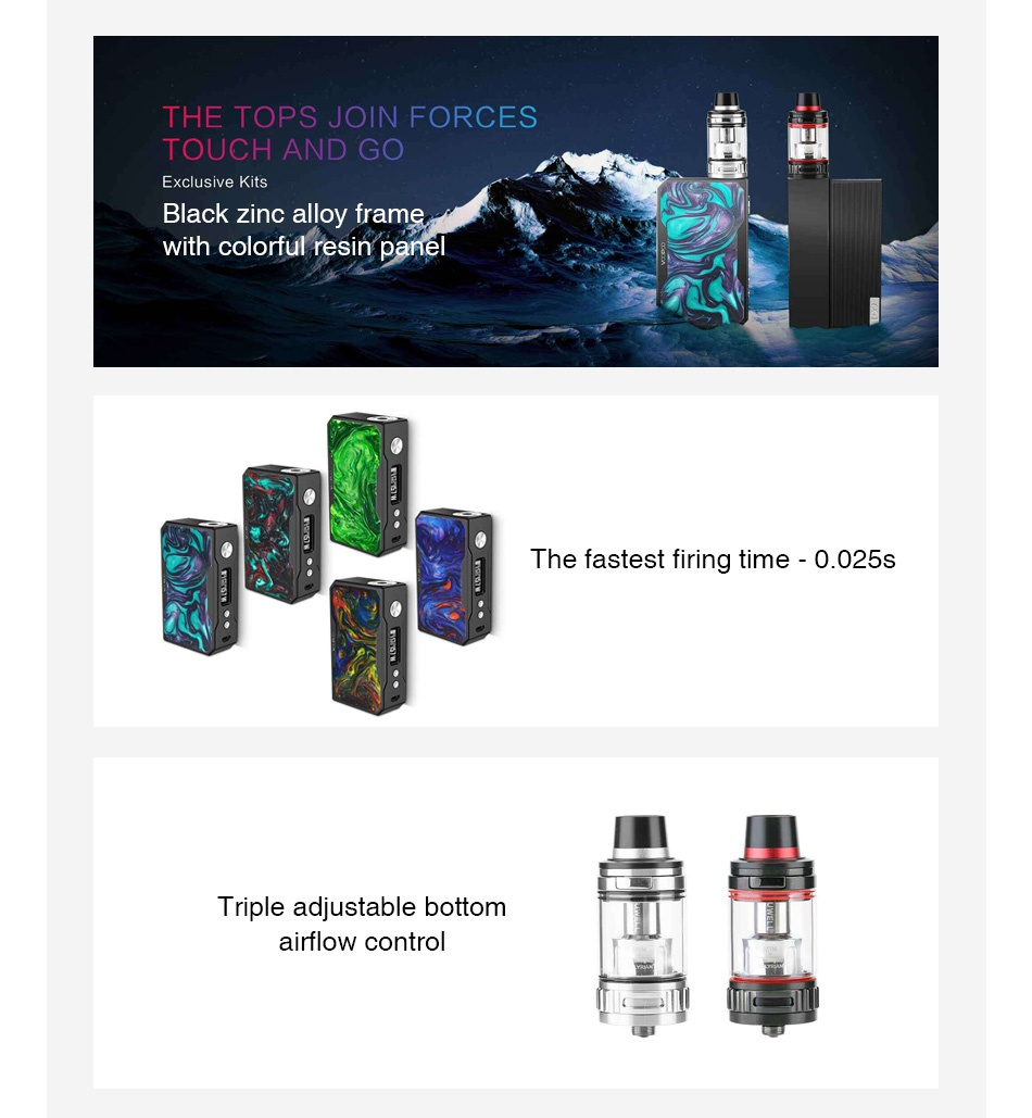 VOOPOO Black Drag Resin 157W with Uwell Valyrian TC Kit THE TOPS JOIN FORCES T  UCH AND GO Exclusive Kit Black zinc alloy trame vith colorful resin panel The fastest firing time 0025s Triple adjustable bottom airflow control