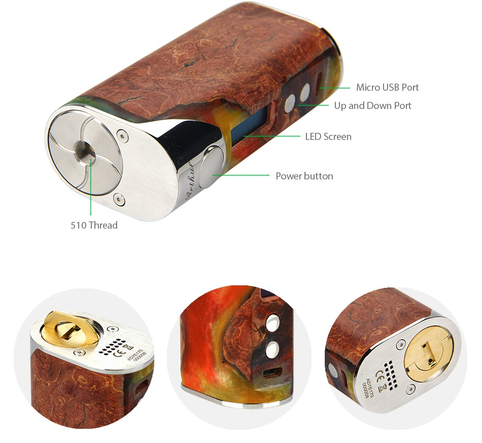 Arctic Dolphin Arthur 80W Stabilized Wood MOD + GeekVape Illusion Mini Tank Up and d Port ower button 510 Thread
