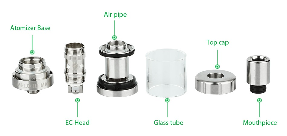 Eleaf iStick Pico 75W TC Full Kit Air pipe Atomizer base Top cap EC Head Glass tube Mouthpiece
