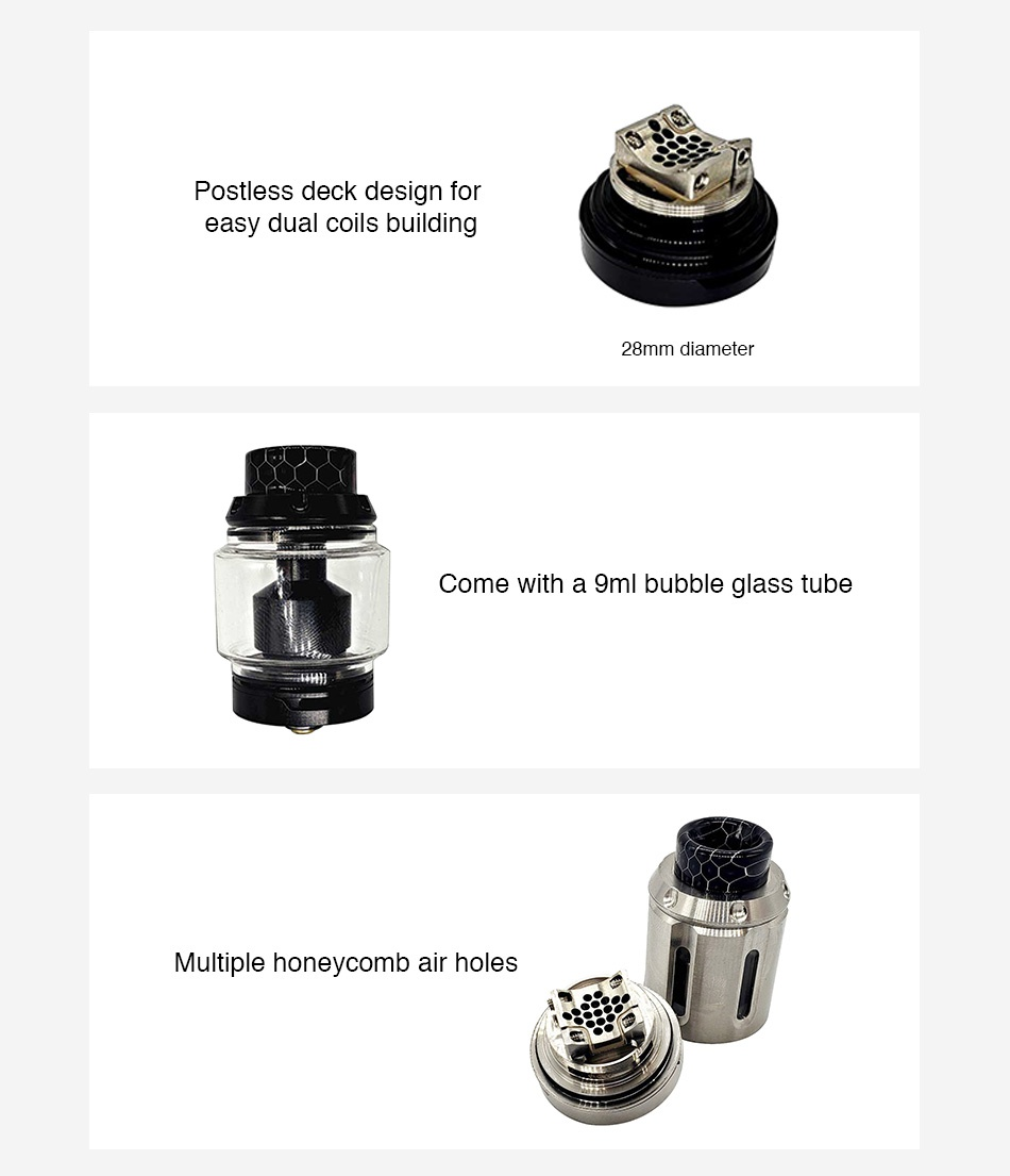 Squid Industries PeaceMaker XL RTA 5ml Postless deck design for easy dual coils building 28mm diameter Come with a 9ml bubble glass tube LE Multiple honeycomb air holes