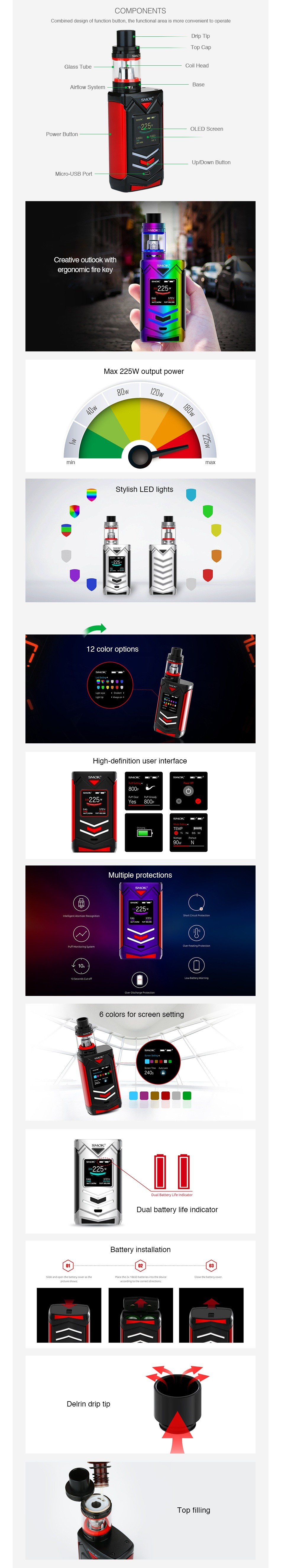 SMOK Veneno 225W TC Kit with TFV8 Big Baby SMOK  SMOK 225 225w 225 Blue red Black yellow Black Red SMOK SMOK 225w 225w 225w 225 Silver black Red gold Purple red 7 Colo