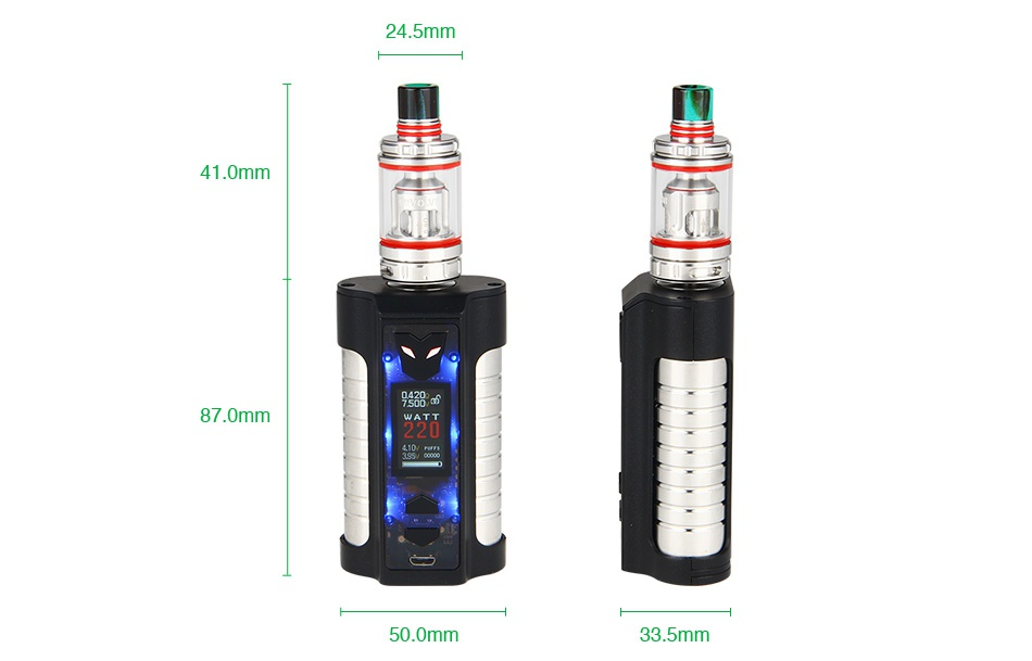 Sigelei MT 220W TC Kit with Revolvr Tank 24 5mm 41 0mr 87 0mr 50 0mm 33 5mm
