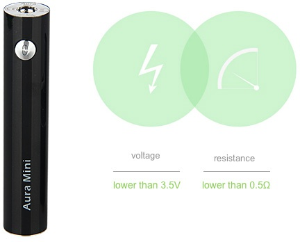 VapeOnly Aura Mini Kit 1450mAh voltage resistance lower than 3 5v lower than 0 50