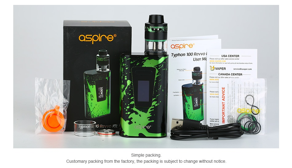 Aspire Typhon 100 Revvo TC Kit 5000mAh ashine Typhon 100 Revo USA CENTER VAPER uO Q z o Simple packing Customary packing from the factory  the packing is subject to change without notice