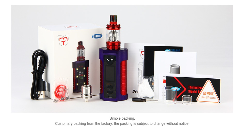 Sigelei MT 220W TC Kit with Revolvr Tank     he factory  the packing is subject to change without notice