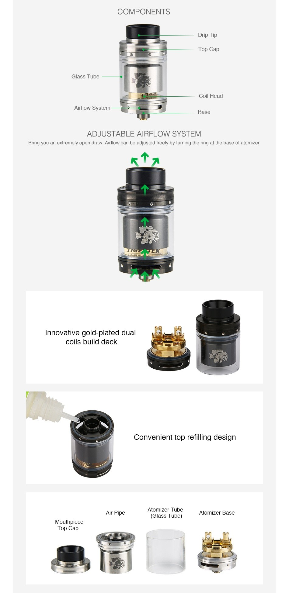 Tigertek Mermaid RTA 3.5ml COMPONENTS Top Ca Glass Tube Coil Head rflow System ADJUSTABLE AIRFLOW SYSTEM Bring you an extremely open draw  Airflow can be adjusted freely by turning the ring at the base of atomizer RZ  E nnovative gold plated dual coils build deck Convenient top refilling design Atomizer tube  Glass Tub Mouthpiece Top Cap