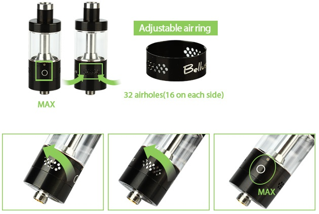 UD Bellus RTA Tank Atomizer 5ml Adjustable air ring 32 airholes 16 on each side MAX MAX