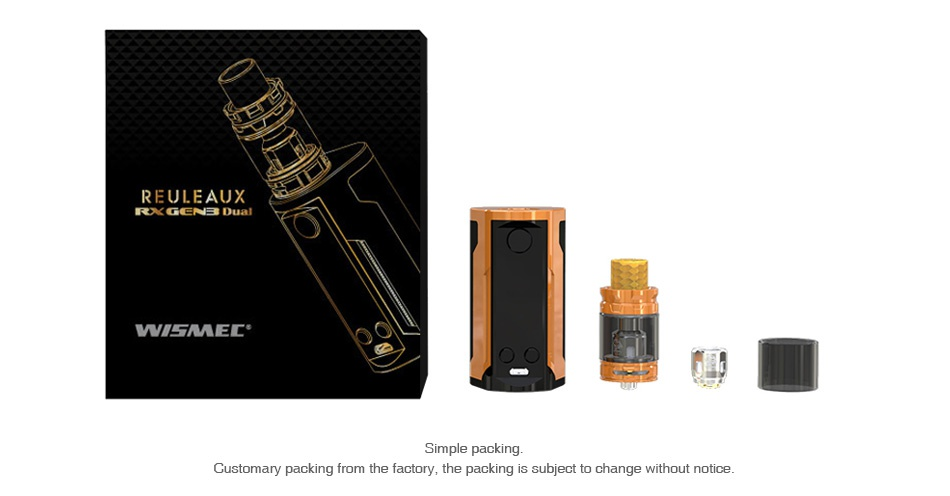 WISMEC Reuleaux RX GEN3 Dual 230W with Gnome King Kit EULEAUX IRXORCENE Dual LMEL Simple packing Customary packing from the factory  the packing is subject to change without notice