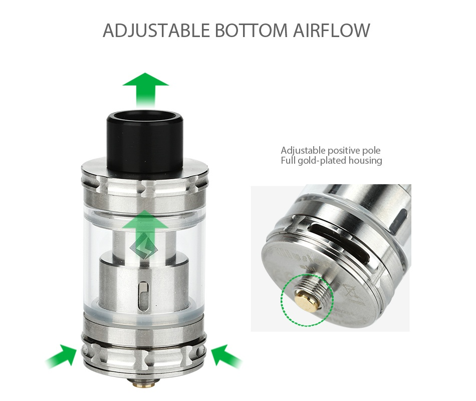 Arctic Dolphin Arthur 80W Stabilized Wood MOD + GeekVape Illusion Mini Tank ADJUSTABLE BOTTOM AIRFLOW Adjustable positive pole Full gold plated housing