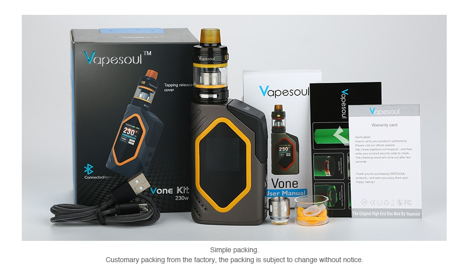 Vapesoul Vone 230W Bluetooth TC Kit yapesoul   von Kr Customary packing from the factory  the packing is subject to change without notice